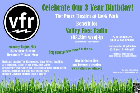 Valley Free Radio Look Park Flier for August 9, 2008 Fundraiser
