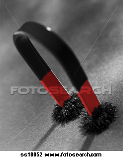 Horseshoe Magnet with fuzzy metal filings slippers