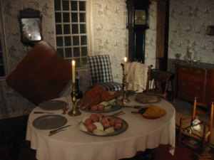 Parts of the inn are roped off and are museumish. That turkey is not real.