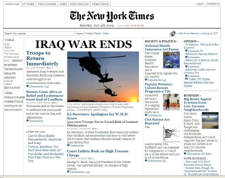 New York Times edition, July 4th, 2009 totally faux, totally hopeful