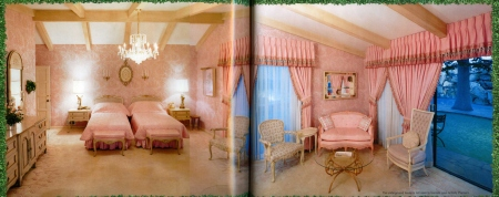As salmony-pink as the living room is beigy-beige, such is the bedroom in the underground house.