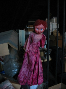 Scary red chick in the attic.