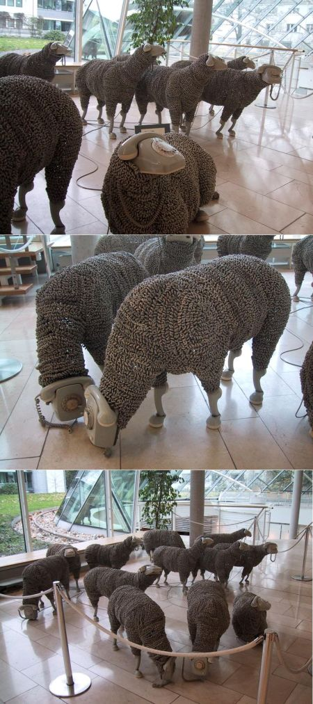 Sheep made of telephones