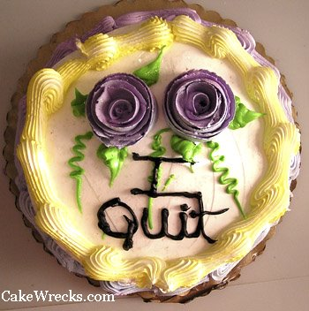Instead of a goodbye note he left me this cake which he must have made in his Kenner Easy Bake Oven
