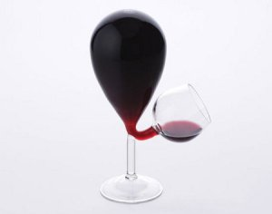 Wine Glass with reservoir: Two together might make a heart shape - making this image relevant to this post - and might help rekindle the love.
